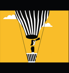 female on hot air balloon vector image