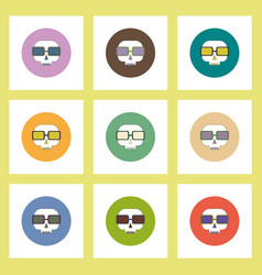 Flat icons halloween set of skull in glasses vector