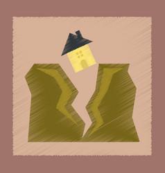 Flat shading style icon house earthquake vector