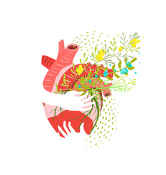 Floral healthy heart abstract flat vector