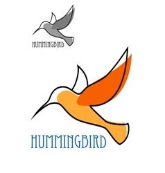 Flying orange hummingbird in outline sketch style vector image