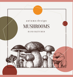 Forest mushrooms trendy design hand drawn healthy vector