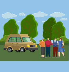 friends come truck to forest people rest vector image
