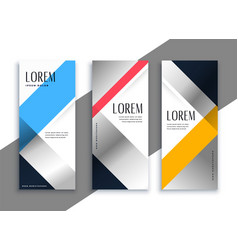 geometric business vertical banners set vector image