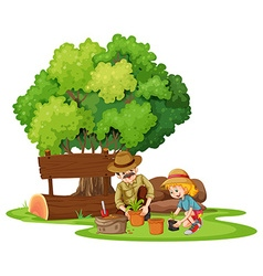 Girl and dad planting tree vector