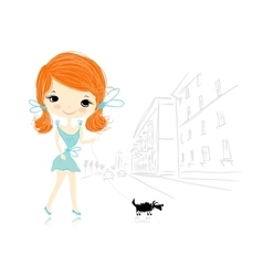 Girl with dog on street sketch for your design vector image