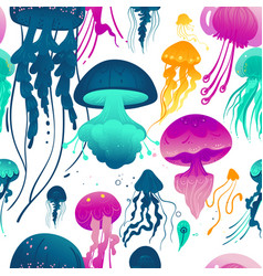 Glowing jellyfish seamless pattern - colorful sea vector