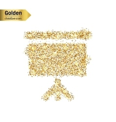 Gold glitter icon of a poster isolated on vector