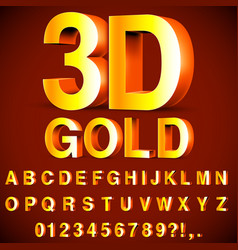 golden 3d alphabet and numbers vector image