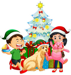Group children with their dog wearing vector