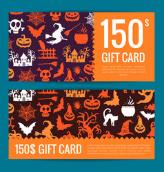 halloween gift card or voucher templates vector image