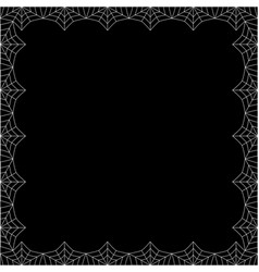 Halloween square spider web border on black vector