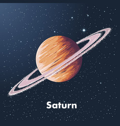 hand drawn sketch of planet saturn in color vector image