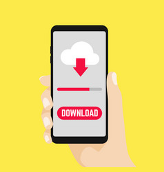 hand holding smartphone with file download button vector image
