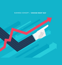Hand of a businessman points up growth chart vector