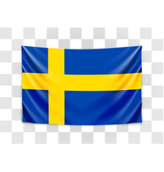 hanging flag sweden kingdom sweden vector image