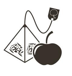 icon tea bag-pyramid with apple flavor logo in vector image