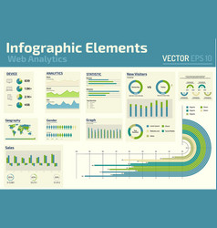 infographic elements web analytics design template vector image