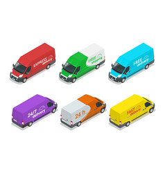 Isometric icons delivery cars express free or vector