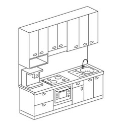 Isometric plan kitchen set design vector