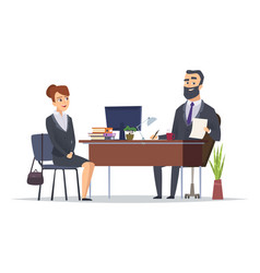 Job interview business office meeting hr managers vector