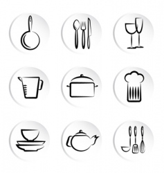 kitchen object icons vector image