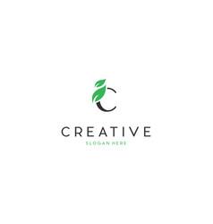 letter c leaf naturally creative business logo vector image