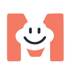 Letter m with a smile on the face character vector