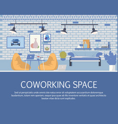 loft style coworking space interior design banner vector image