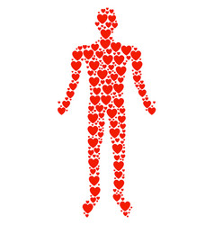 love heart man figure vector image