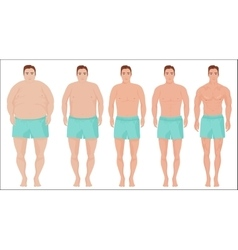 Man diet concept Men slimming stage progress vector