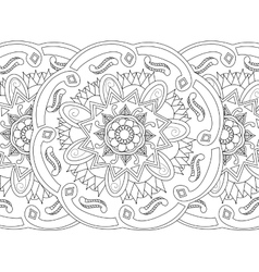 Mandala coloring seamless for adults vector