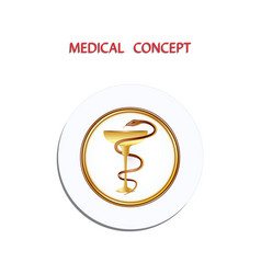 Medical concept icon round - snake and bowl vector