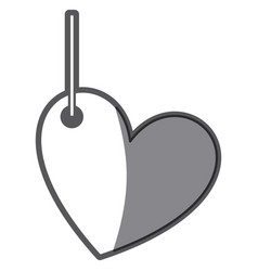 Monochrome silhouette love heart figure hanging vector