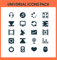 multimedia icons set with presentation computer vector image