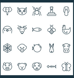 Nature icons set with piglet spider puppy and vector