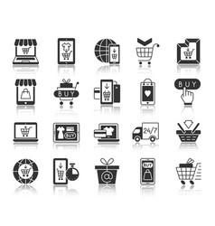 online shop black silhouette icons set vector image