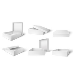 open and closed packaging box white cardboard vector image