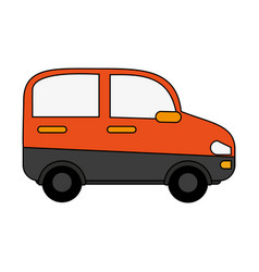 Orange minivan design vector