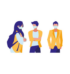 people in city wearing face mask vector image