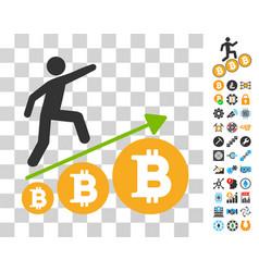 Person climb growing bitcoin icon with bonus vector