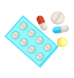 Pills and medicine capsule and tablet isolated vector