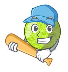 playing baseball fresh melon isolated on character vector image
