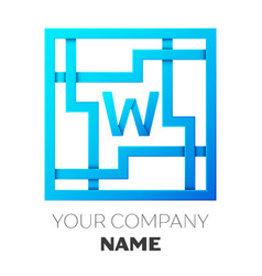 Realistic letter w logo in colorful square maze vector