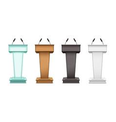 realistic speaker podium tribunes with microphones vector image
