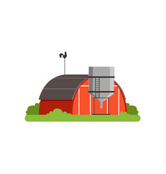 Red barn and silo tower farm building vector