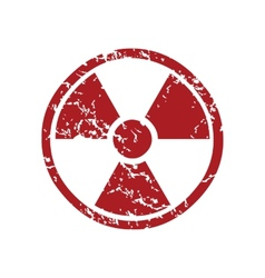 Red grunge nuclear logo vector