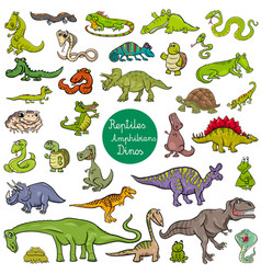 reptiles and amphibians characters set vector image