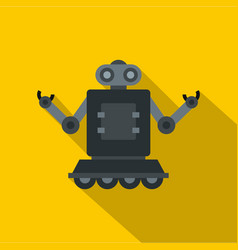 Robot on wheels icon flat style vector