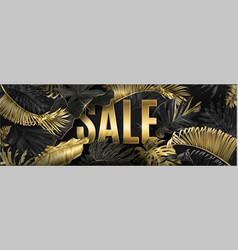 Sale big banner with gold tropical leaves vector